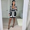 ALTA QUALIDADE de Moda de Nova 2016 Designer Vestido Luva Longa das Mulheres Sexy V Profundo neck Black White Bodycon Vestido Bandage