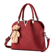 New Fashion Bear Padent Decoration Tote Bags Women PU Leather  Shoulder Bags V Word Shell Thread Women Handbags Messenger Bags