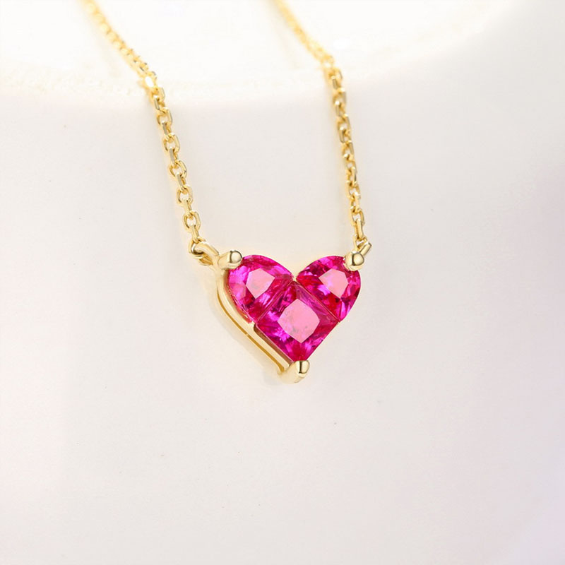 ANI 14K Yellow Gold Pendant Necklace Red Corundum Fine Color Gemstone Jewelry Women Engagement Necklace Fashion Birthday Gift in Necklaces from Jewelry Accessories