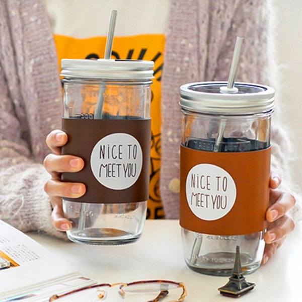 Mason Jar Reusable Beverage Eco Friendly With Lid Straw Included Coffee Cup Monolayer Gl