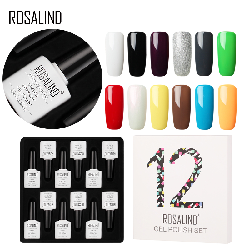 12pcs lot rosalind 10ml nail polish soak off varnish kit vernis semi permanent gel lacquer set