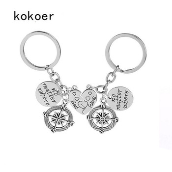 2PC Love Heart You're My Person Best Friend Keyring Charm Compass Keychain Friendship KeyChain Jewelry sweethearts Key buckle