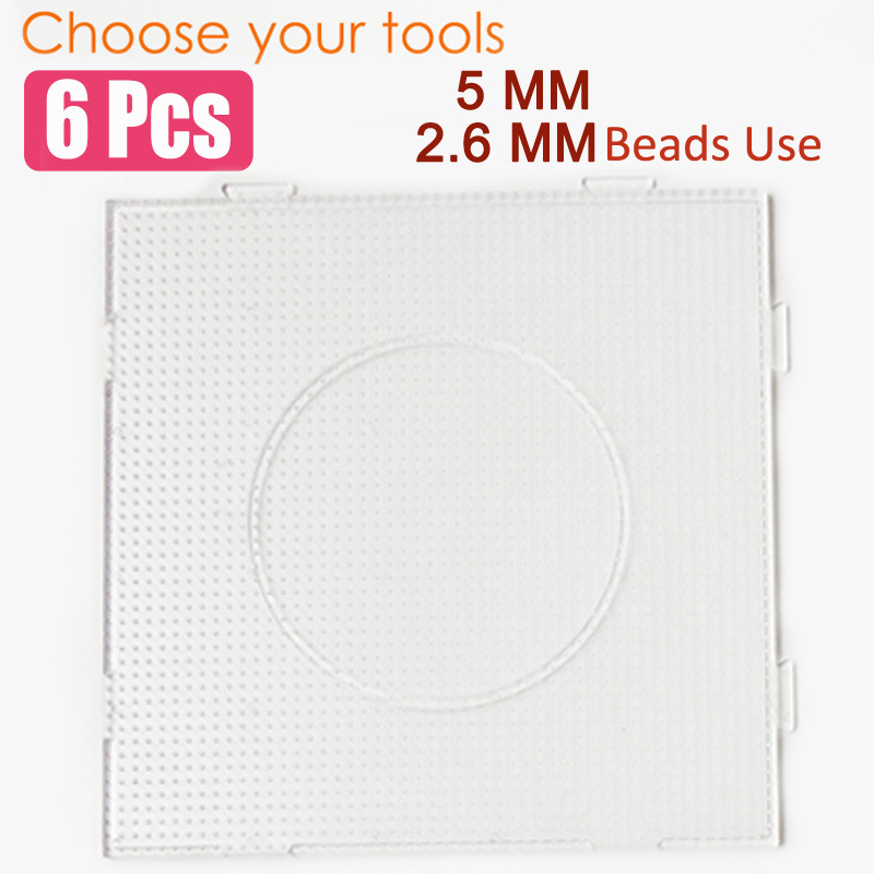 6Pcs Square PegBoards For 5mm 2 6mm Perler Hama Fused pix Beads Clear Linkable Large Pegboard