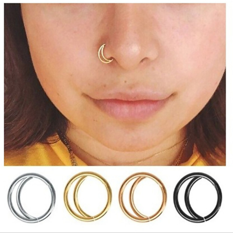 1pcs New Rose Gold Silver Color Nose Ring Earring Body Piercing