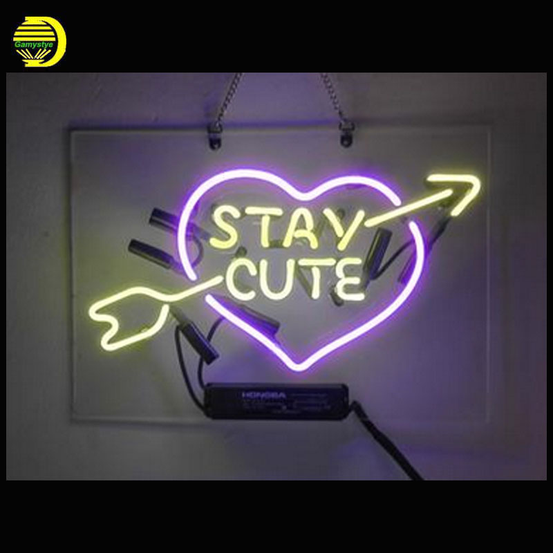 Neon Sign Stay Cute Neon Signs Real Glass Tubes Love Neon Bulb Signboard custom lighted with Plastic Board neon lights for sale internet cafe open with coffee cup neon sign neon light sign glass tube arcade neon signs for bar neon handcrafted bar 17x14 vd