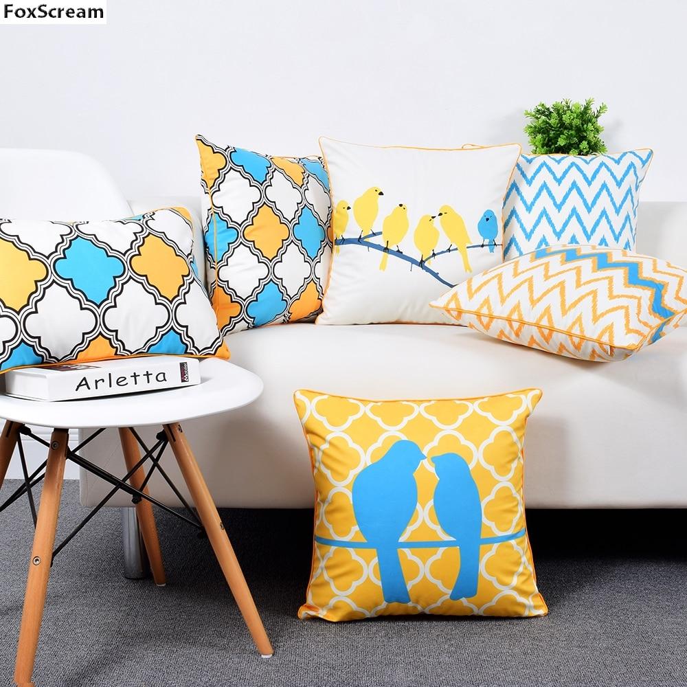 75df1aeecc26ad R$ 38.12 29% de desconto Casos Almofadas Decorativas do pássaro Amarelo  Lance Fronha Capa de Almofada Azul de Veludo Fronha Home Decor Capa de ...