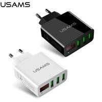 USAMS Brand EU Plug LED Display Wall Phone Charger 3 Port USB 2 4A Max Output