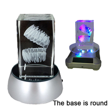 Glowing 3D Tooth Model Clear Crystal Stand With LED Lamp Stand Character Tooth Colorful Child Oral Dental Souvenir Gift 2017