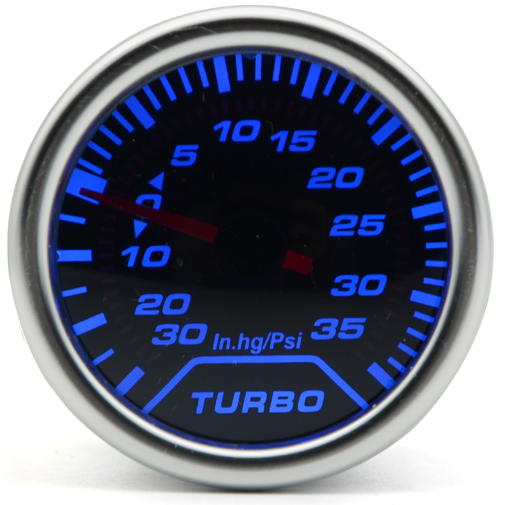 2 52MM Universal Boost Turbo Car Gauge -30 In.hg~35 Psi Meter Auto Blue LED