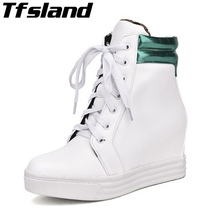 Tfsland Women Height Increasing Shoes Female Breathable White Shoes Flat Walking Shoes Sneakers Women Wedge Platform Ankle Boots