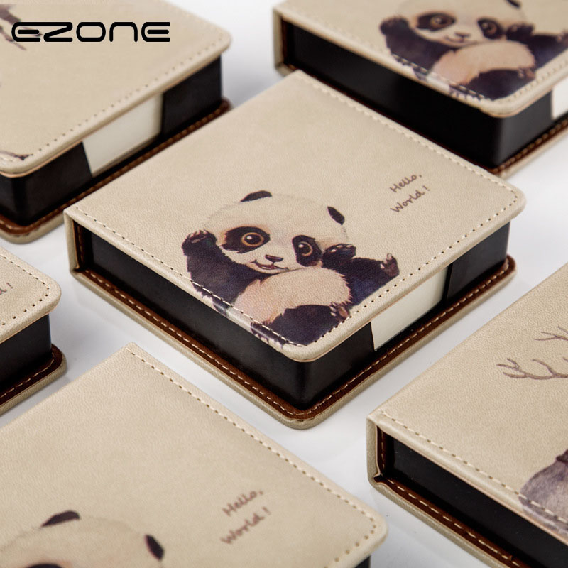 EZONE Cute Memo Pad With Box Kawaii Animal Planner Printed Elk/Panda/Cat And Dog Notebook Notepad Bookmark Stationery Papelaria 4 pcs lot cat memo pad stationery papelaria escolar school supplies memo pad gift cute kawaii animal sticky notes memo notebook