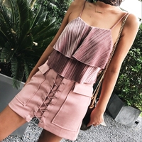 The Color Series Suede Drawstring Tie Waist Skirt Women A Word Skirt 5 Colors