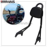 Motorcycle Black Backrest Pad & Sissy Bar Luggage Rack Set For Yamaha Star Bolt XVS950 2014 17 16 15
