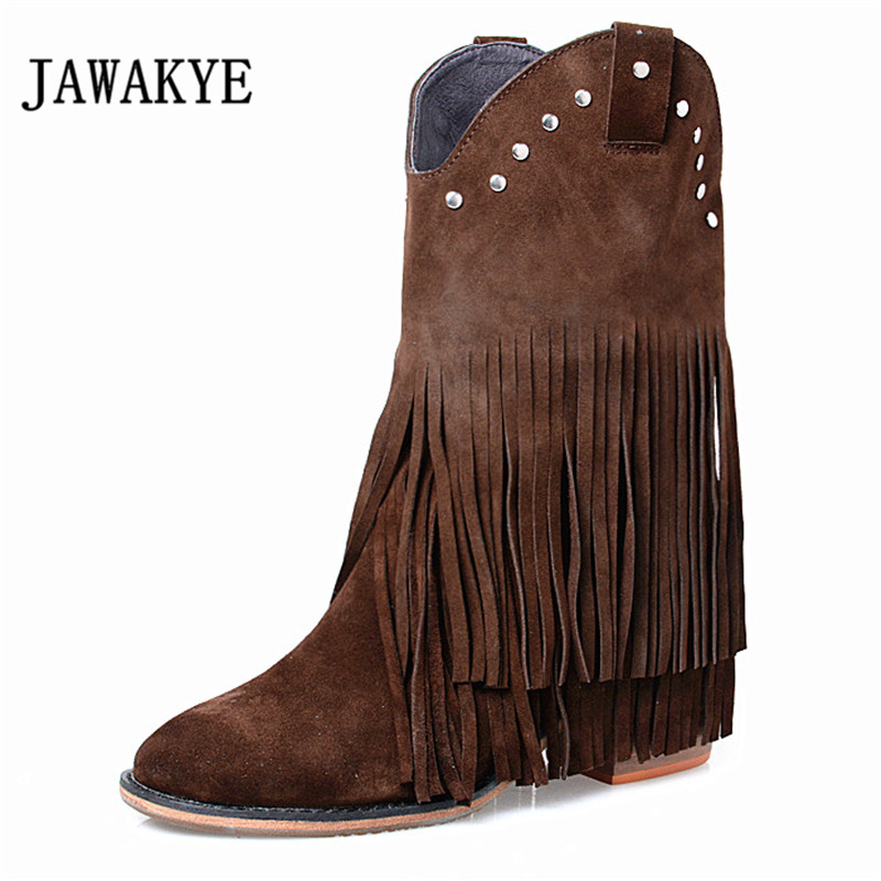 2017 Bohemia Suede Tassel Ankle Boots Woman Rhinestone Rivet High Heel Boots Women Fringe Short Boots 2017 luxury handmade pointed toe ankle fringe tassel short boots high end designed men genuine leather suede boots