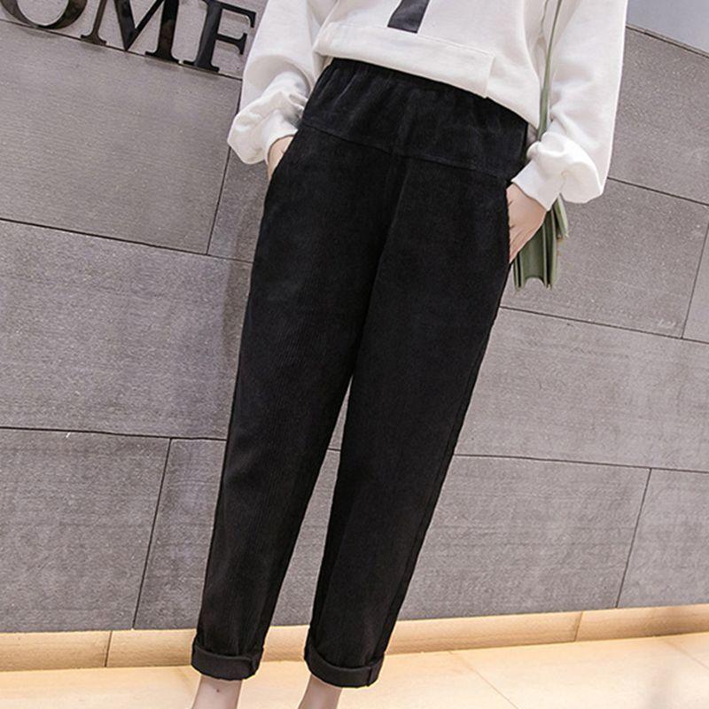 Mferlier Winter Verdicken Cord Hosen Elastische Taille Lose Kurze Taschen Frauen Hosen 3 Farbe Oversize Frauen Breite Bein Hosen