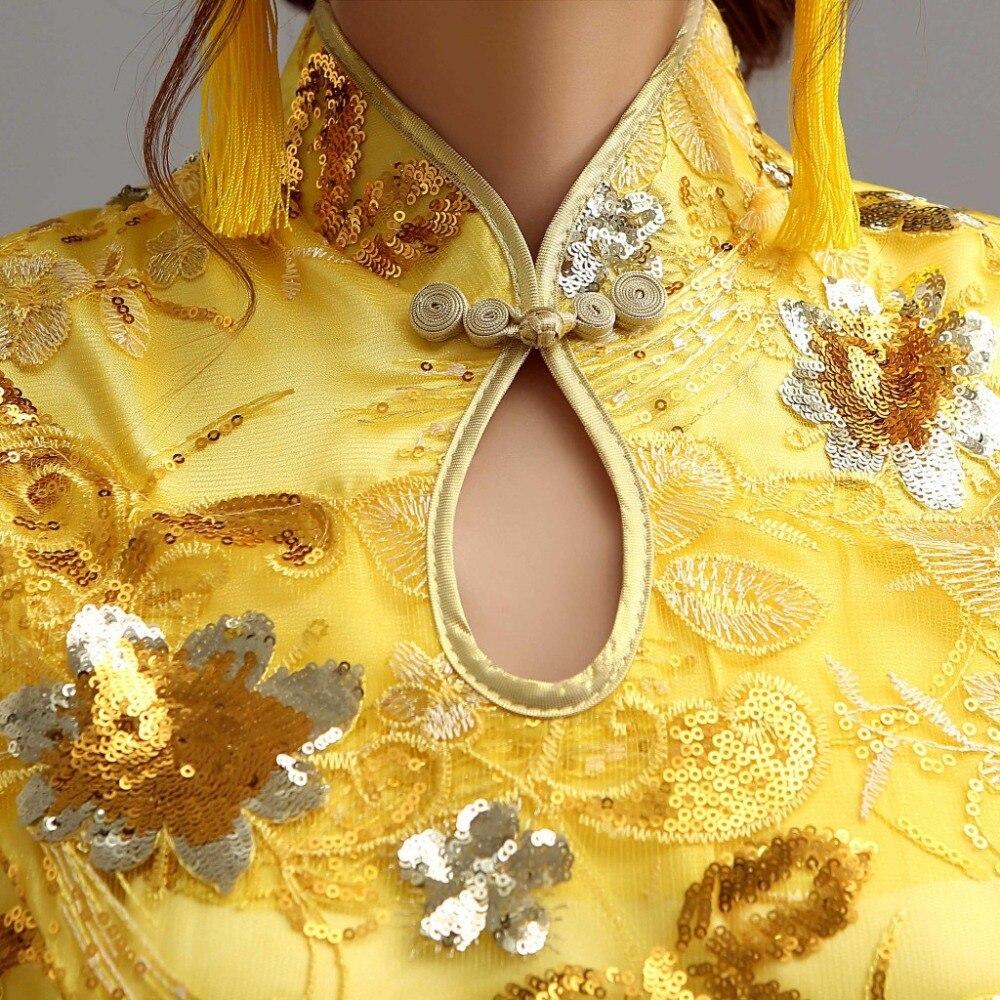 Pakaian Musim Sejuk Cheongsam Cina Tradisional Pakaian Sutera Satin - Pakaian kebangsaan - Foto 5