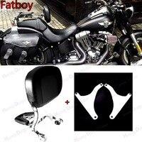 Chrome Fixed Mount&Adjustable Driver Passenger Backrest For Harley Fatboy FLSTF FLSTFB 07 17