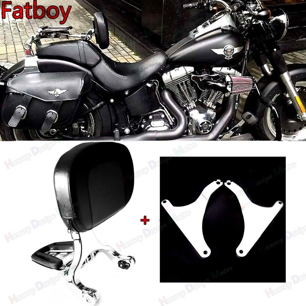 Chrome Fixe Mount & Réglable Pilote Dossier Passager Pour Harley Fatboy FLSTF FLSTFB 07-17