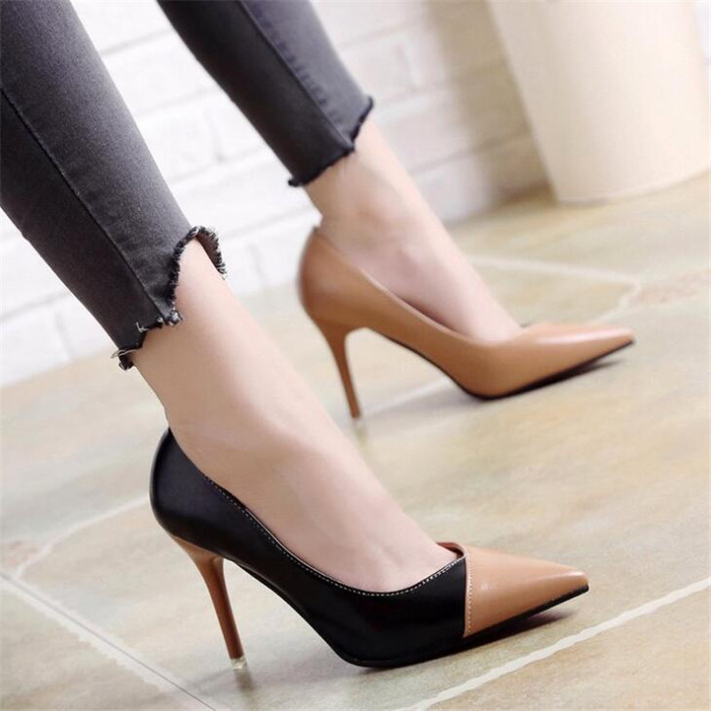2018 Women Pumps OL Fashion Spell Color High heels Single Shoes Female Spring Summer Patent leather Wedding Party shoes Woman2018 Women Pumps OL Fashion Spell Color High heels Single Shoes Female Spring Summer Patent leather Wedding Party shoes Woman