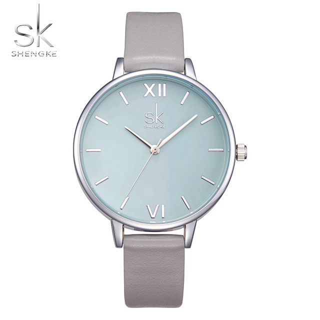 Shengke Watches Women Fashion Elegant Dress Leather Strap Wrist Watch Luxury Quartz Watch Montre Femme Reloj Mujer 2018 SK Clock couple fashion fashionable verycomfortable wearing nylon strap analog quartz round wrist watch watches women clock reloj