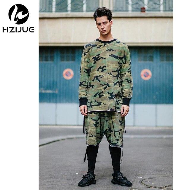 Oversized camo hip hop kpop justin bieber roupas street wear urbano clothing manga longa mens camisa espinhel roupas dos ganhos