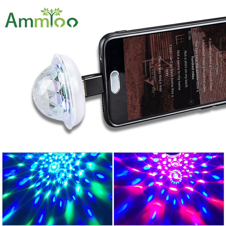 Mini Usb Disco Stage Lighting Effect Light Music Sensor Dj Magic Crystal Ball Lamp Colorful Laser Lumiere Bulb For Mobile Phone