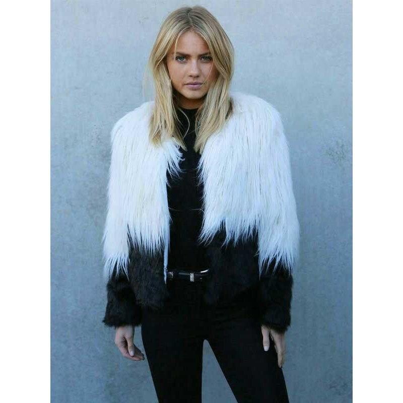 New Fashion font b Women b font Faux Fur Coat Loose White and Black Patchwork Coat