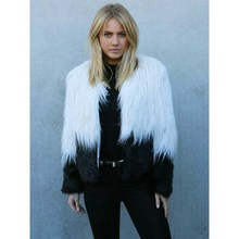 New Fashion Women Faux Fur Coat Loose White and Black Patchwork Coat Long Sleeve Winter Warm Women Jacket