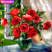 MomoArt Diamond Embroidery Flowers Painting Full Square Rhinestone Mosaic Rose Home Decoration