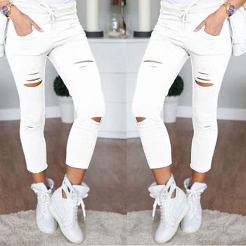 2018 Sexy Women High Waist Denim Stretch Jeans Destroy Skinny Ripped Distressed Hole Ankle Length Pants Trousers Army green 1