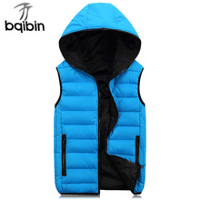 2017 Men'S Vest Winter Men Brand Hooded Vest Male Fashion Cotton-Padded Waistcoat Jacket And Coat Warm Vest Plus Size 4XL