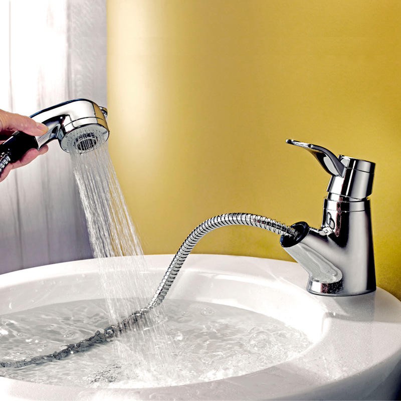 Pull Out Spray Basin Faucet Polished Chrome Water Saving Brass Sink Tap for Kitchen Bathroom Dual