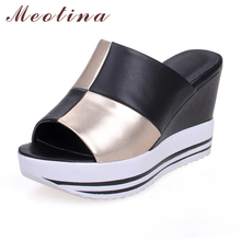 Meotina Genuine Leather Shoes Women Ladies Slippers Causal Platform Wedges Heels Real Leather Women Slides Large Size 9 10 11 44