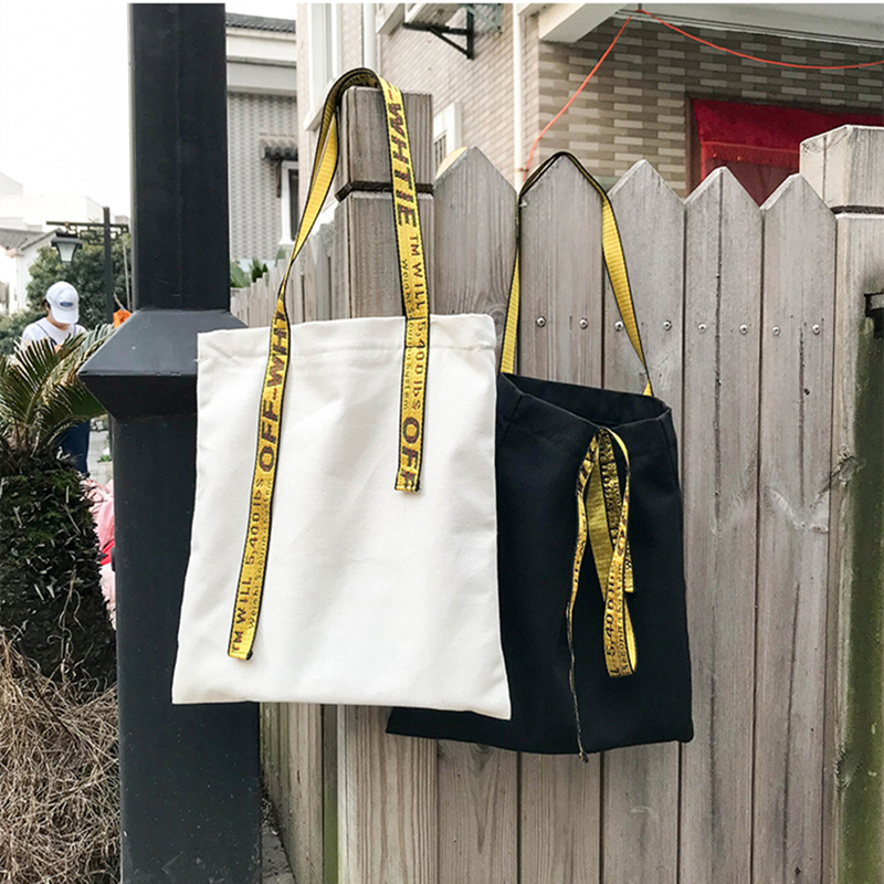 YILE Simple Canvas Solid Black White Eco Shopping Tote Shoulder Bag Yellow Strap Zipper Closed