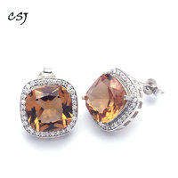 CSJ Big Stone Zultanite Stud Earring 925 Silver Cushion Cut 10MM Created Sultanite Fine Jewelry Women Wedding Party Gift