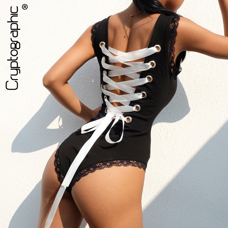 Cryptographic Backless lace bodysuit women body lace up summer sexy rompers womens   jumpsuit   teddy 2018 bandage catsuit bodysuits