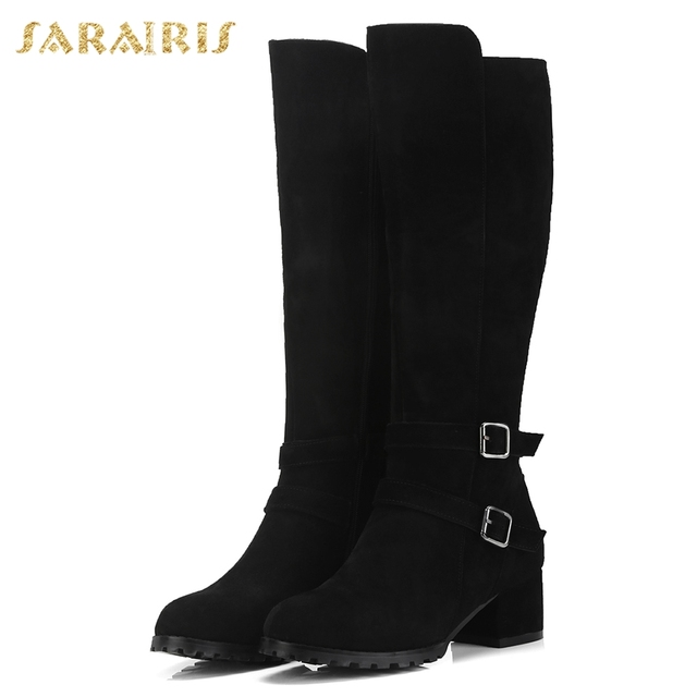 SARAIRIS Cow Suede New Zip Up Shoes Woman Boots Hot Sale Square Heels Add Fur Mid Calf Boots Woman Shoes Winter Size 34-40 4