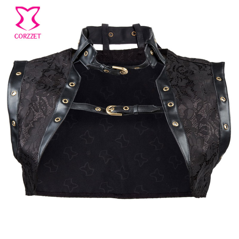 Sexy Corsets And Bustiers Burlesque Steampunk Clothing Accessories Black Brocade Leather Gothic Corset font b Jacket