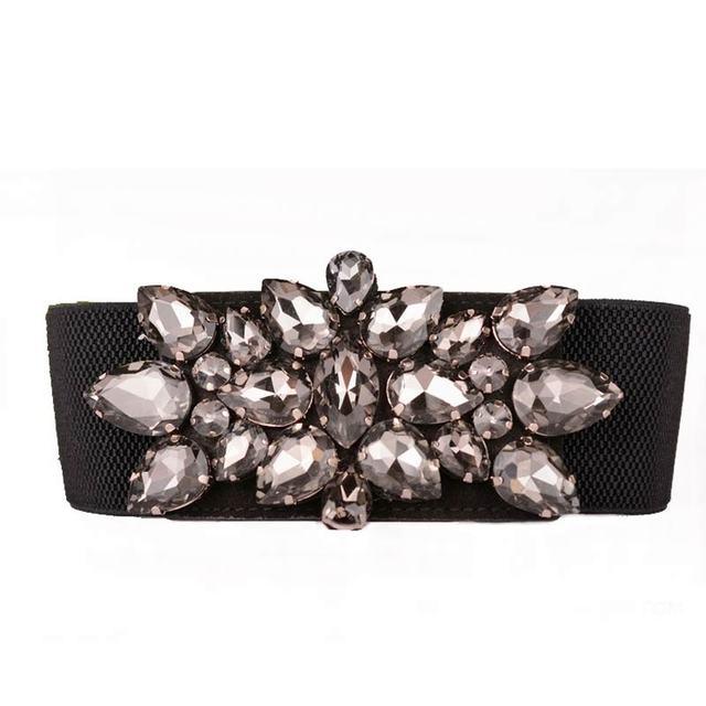 Nueva Corea grandes retro crystal cinturones para las mujeres de estilo brillante de ancho cinturón sello de la cintura de cristal corto exagerada cinturón elástico