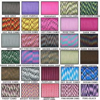 20pcs 100FT 550 Paracord Parachute Cord Lanyard Mil Spec Type III 7 Strand Core For Climbing Camping Buckles Bracelet 108 Colors