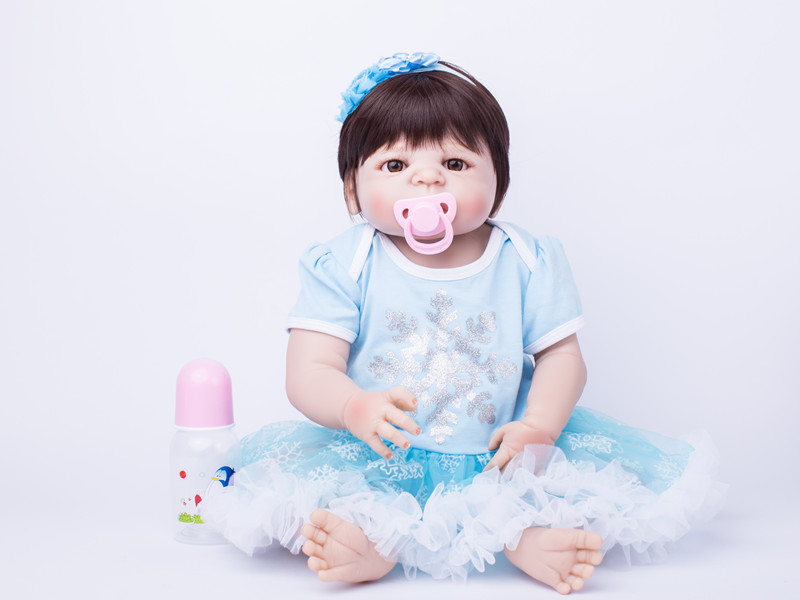 55cm Full Body Silicone Reborn Babies Doll Toys Baby-Reborn Princess Doll Child Birthday Gift Present Girls Brinquedos