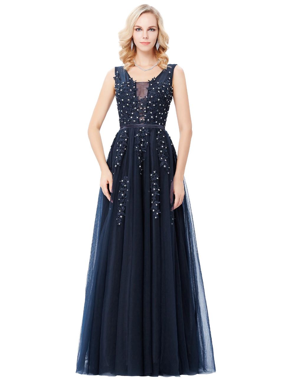 Grace Karin Tulle Appliques Celebrity Prom Dress Sexy V Back Sleeveless Long Royal Blue Robes De Soiree 2017 Longue Prom Dresses 11
