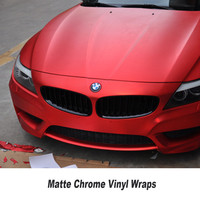 Red matte chrome Vinyl Wrap Car Wrapping Film For Car Vehicle styling Quality assurance 5ft X 65ft/Roll