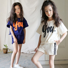 купить New 2019 Baby Summer Set Kids Clothes Set Children Suit Girls Shirt And Short Toddler Two Piece Set Cotton Letters Fashion онлайн
