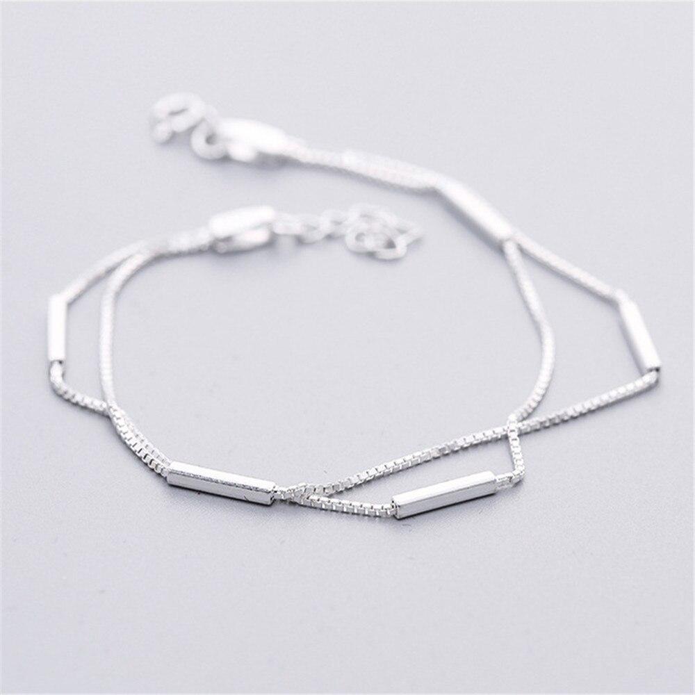 Komi 925 Sterling Silver Bracelet For Women Multilayer Stick Shape  Geometric Charm Bracelets Party Fashion Jewelry
