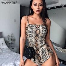 WannaThis Snake Skin Spaghetti Straps Bodysuit 2019 Summer Women Sexy Bodycon Snakeskin Slin Party Club Body Fashion New