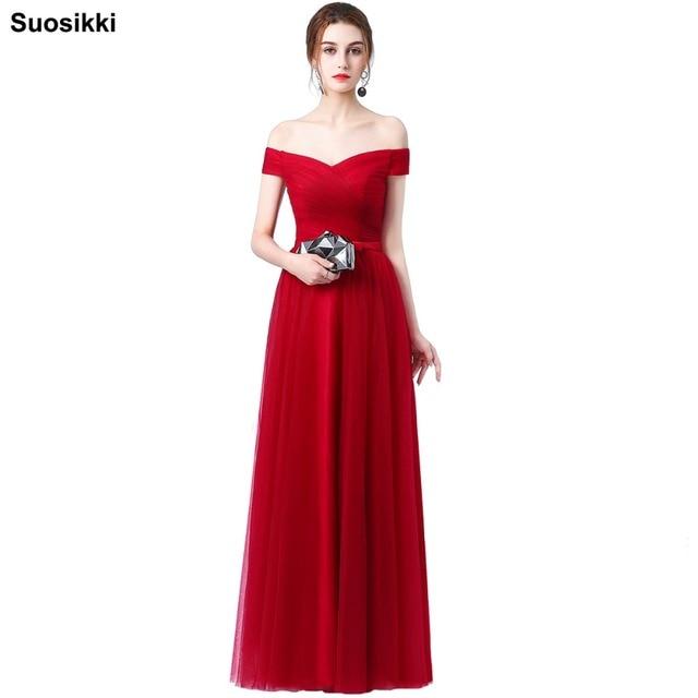 Vino Rosso Lungo Vestito Da Sera della Sposa Banchetto Elegante Scollo A  Barca Molle di Tulle 736bbec5b90