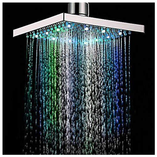 Promotion! 8-inch Multi-color Changing LED Light Square Shaped Water Shower Head Shower Faucet Nozzle