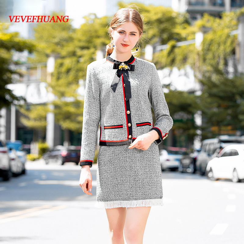 VEVEFHUANG 2018 Autumn New Elegant Skirt Suits Women's Long Sleeve Single Breasted Bow Coat+Tassel Skirts Boutique Two-Piece Set