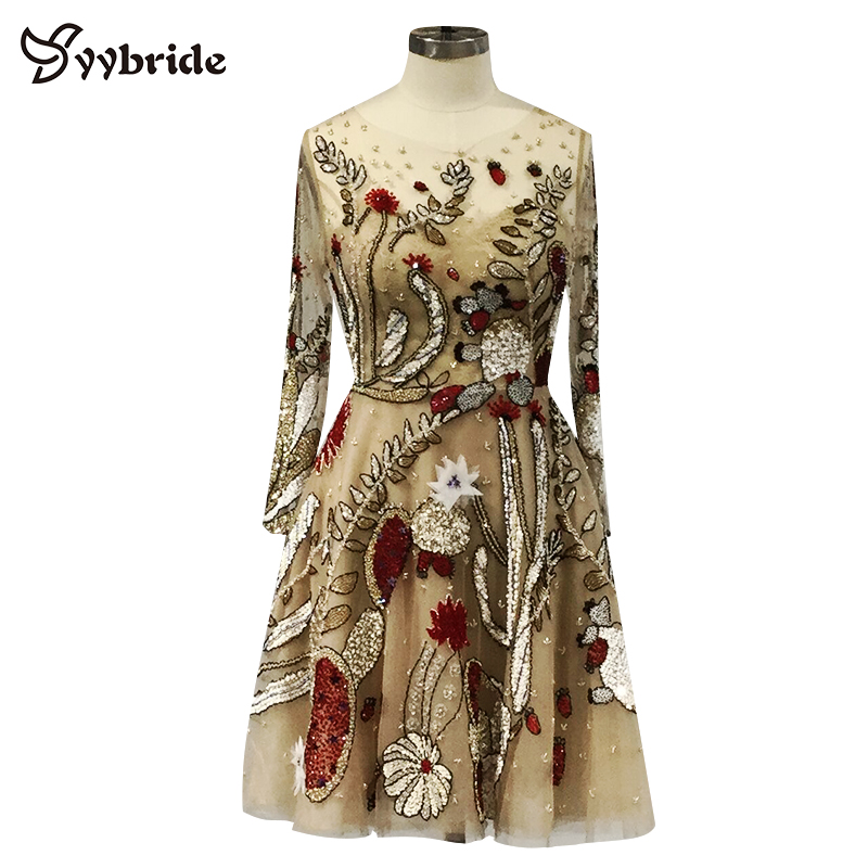 Surmount Customized Long Sleeves Colofully Beading A-line Backless Cocktail Dresses V-Neck Formal Party Dresses Vestido De Noche